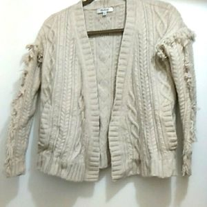 Madewell Cable Knit Fringe  Merino Wool Sweater Size XXS Creamy